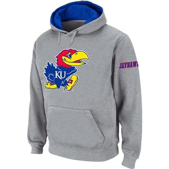 Kansas Jayhawks Heather Grey Twill Pep Rally Hooded Sweatshirt