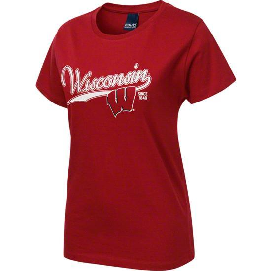 Wisconsin Badgers Women's Red Cheer Town T-Shirt
