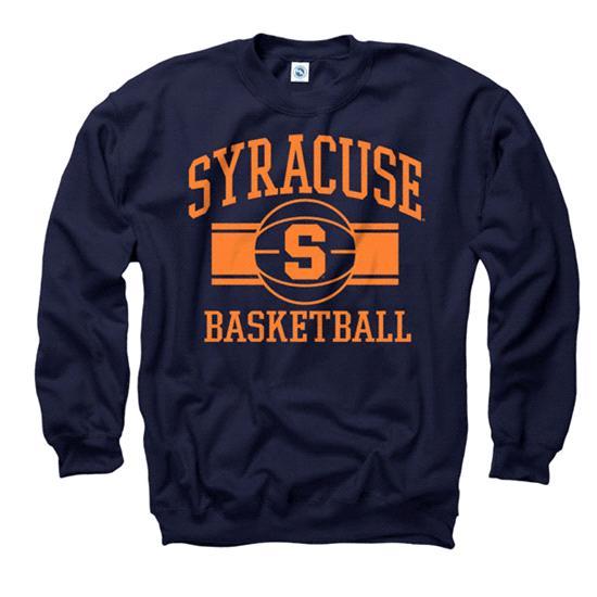 Syracuse Orange Navy Wide Stripe Basketball Crewneck Sweatshirt