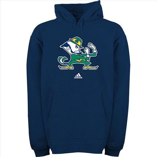 Notre Dame Fighting Irish Youth Navy adidas Leprechaun Logo Hooded Sweatshirt