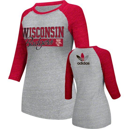 Wisconsin Badgers Women's Heather Red adidas Originals Traditional Me Tri-Blend Raglan 3/4 Raglan Long Sleeve T-Shirt