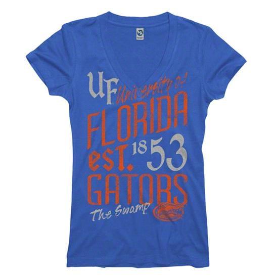 Florida Gators Women's Royal Landslide Ring Spun V-Neck T-Shirt