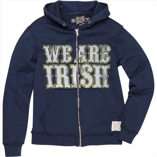 Notre Dame Fighting Irish Original Retro Brand Navy We Are Irish Vintage Thermal-Lined Hooded Sweatshirt