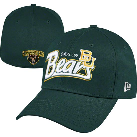 Baylor Bears DarkGreen New Era 39THIRTY Tail Swoop Classic Stretch Fit Hat