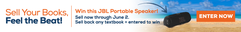 Sell your books to us to be entered to win a JBL portable speaker now through June 2nd